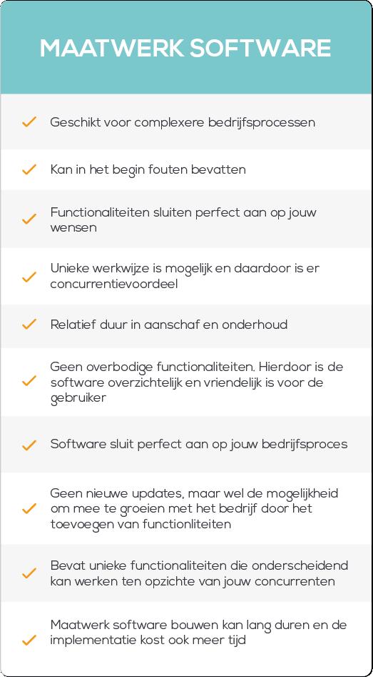 Voordelen nadelen op maat gemaakte software